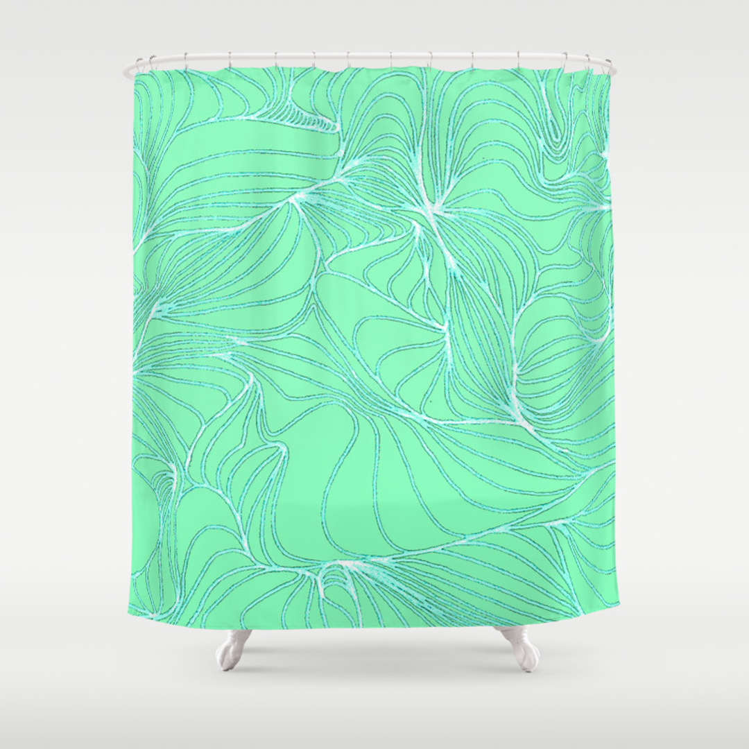 Smooth Shower Curtains Society - Mint green shower curtain