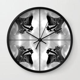 Red,White and Black Mantas Wall Clock