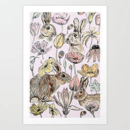 rabbits and flowers with color Art Print