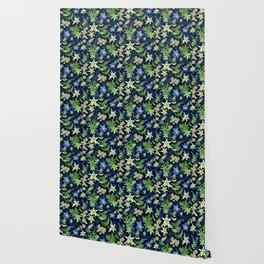 Alpine Flowers Blue - Gentian, Edelweiss Wallpaper