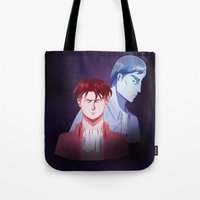 dad Tote Bags featuring Red Dad Blue Dad by Saintly