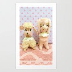 pink poodles Art Print
