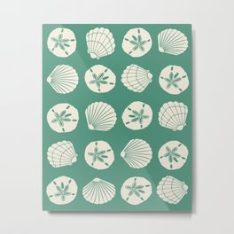 Sea Shells Green Metal Print