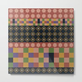 flowers and squares ethnic patchwork Metal Print