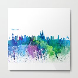 Skyline BARCELONA Colorful Silhouette Metal Print