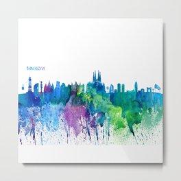 Skyline BARCELONA Colorful Silhouette Metal Print