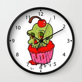 spooky skull cupcake cartoon Wall Clock