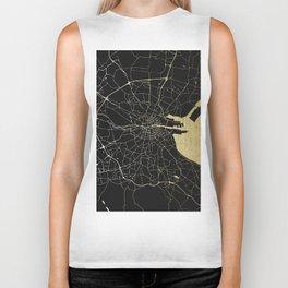 Dublin Ireland Black on Gold Street Map Biker Tank