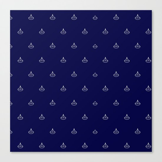 Maritime pattern- little white boats on darkblue backround Canvas Print