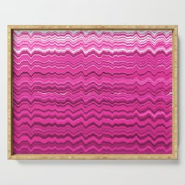 Pink wavy lines pattern Serving Tray