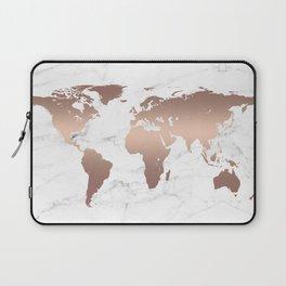 Rose Gold Metallic World Map on Marble Laptop Sleeve