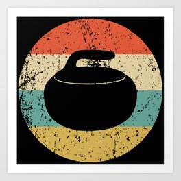 Curling Vintage Retro Curling Stone Art Print
