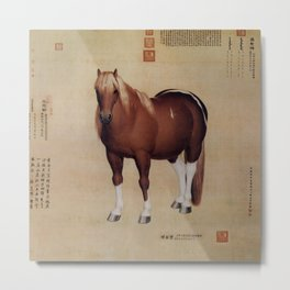 Chinese Ancient Papyrus With Horse Painting                          Metal Print