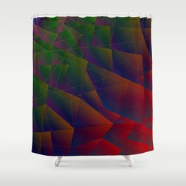Abstract dark pattern of green and overlapping red triangles and irregularly shaped lines. Shower Curtain