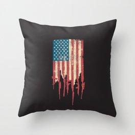 Distressed United States of America USA Flag Grunge Guns Throw Pillow