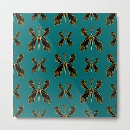 Art Deco Butterfly Print (Teal Background) Metal Print