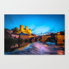 Old german Castle at night/ City: Runkel Canvas Print
