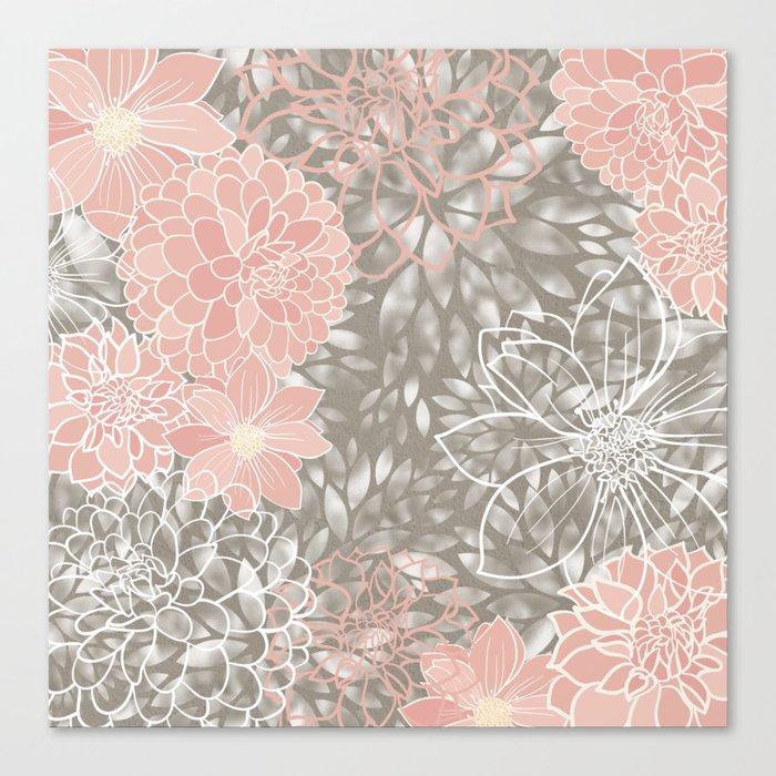 Floral Pattern Dahlias, Blush Pink, Gray, White Leinwanddruck