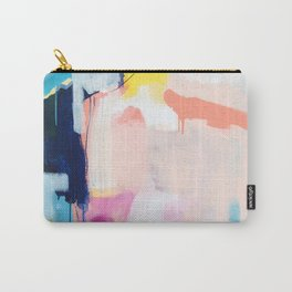 """passions 2"" abstract art in navy, blush, teal, white, and yellow Carry-All Pouch"