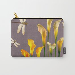 GOLD CALLA LILIES & DRAGONFLIES ON GREY Carry-All Pouch