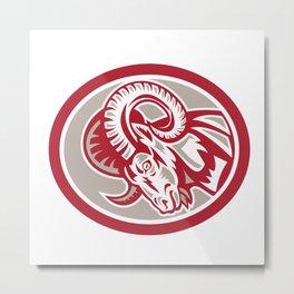 Ram Goat Head Side Circle Retro Metal Print