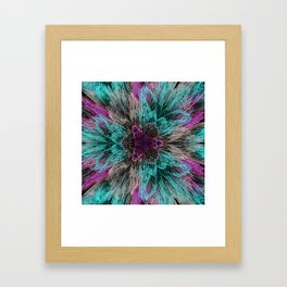 Mint and pink flowers abstract digital background Framed Art Print