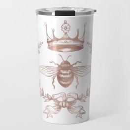 Queen Bee in Rose Gold Pink Travel Mug