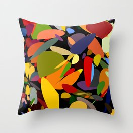 Colorful pebbles on black Throw Pillow