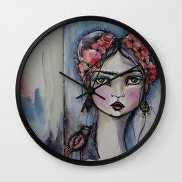 Frida with little bird Wall Clock