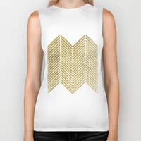 gold foil Biker Tanks featuring Gold Foil Chevron by Berty Bob