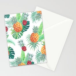pineapple watercolor pattern Stationery Cards