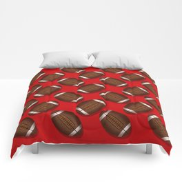 Sporty Footballs Design on Red Comforters