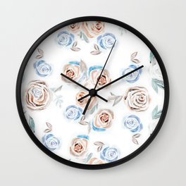 Rose Pattern - Fall Colors on White Wall Clock