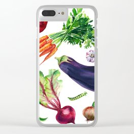 vegetables watercolor Clear iPhone Case