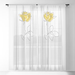 Lemon Rose Sheer Curtain