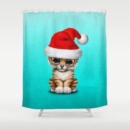 Christmas Tiger Wearing a Santa Hat Shower Curtain