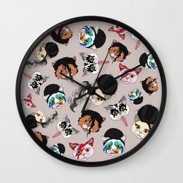 Pop Cats - Pattern French Gray Grey Wall Clock