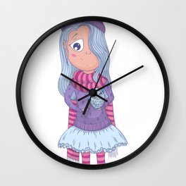 Cute anime girl in tutu and winter clothes with owl. Cartoon character Wall Clock