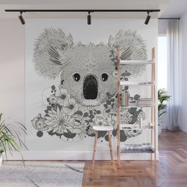 Koala bear with flowers and eucalyptus Wall Mural