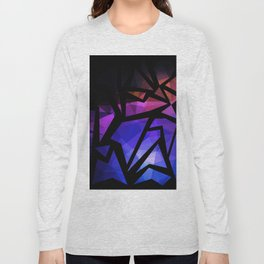 Abstract print of triangles polygon print. Bright dark design colors Long Sleeve T-shirt