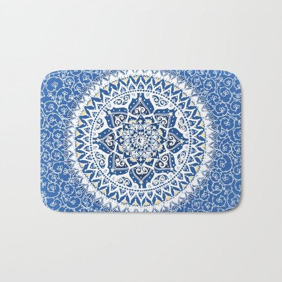 Yin Yang Mandala Pattern (Blue & Yellow) Bath Mat