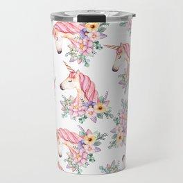 Pink lilac yellow green watercolor magical unicorn floral Travel Mug