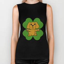 Dog On Four Leaf Clover- St. Patricks Day Funny Biker Tank