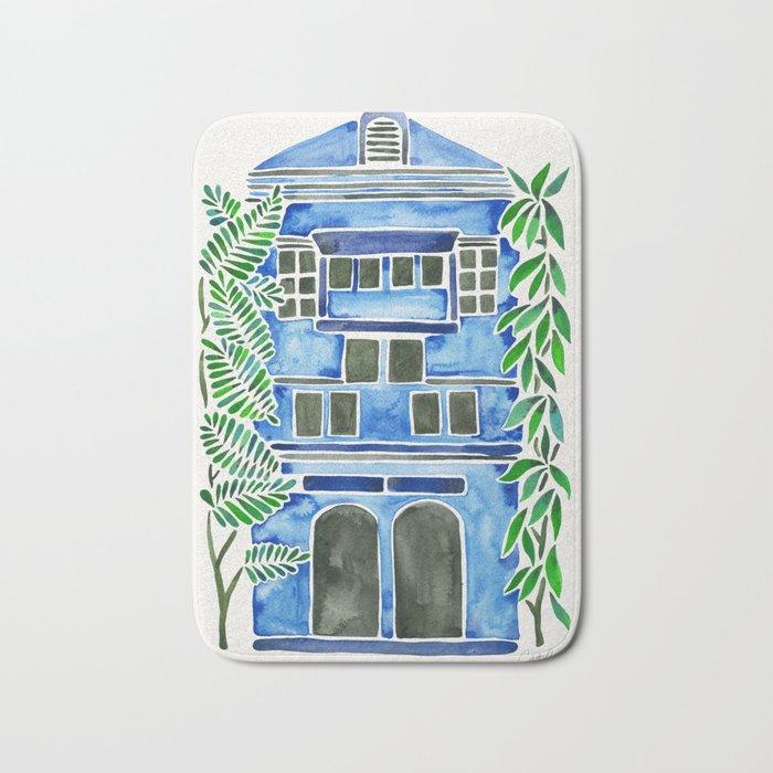 Tropical Blue House Bath Mat