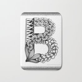 Zentangle B Monogram Alphabet Initial Bath Mat