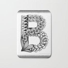 Zentangle B Monogram Alphabet Initial Bath Mat