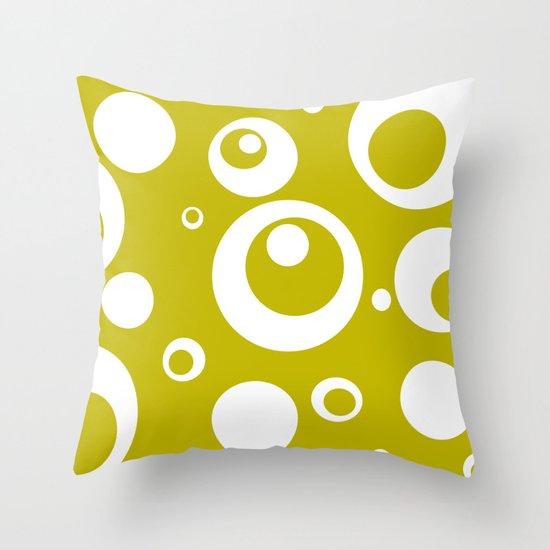 Circles Dots Bubbles :: Citron Throw Pillow