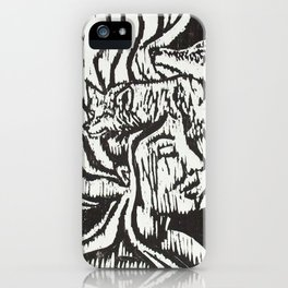 Woman with Foxes- Woodcut iPhone Case