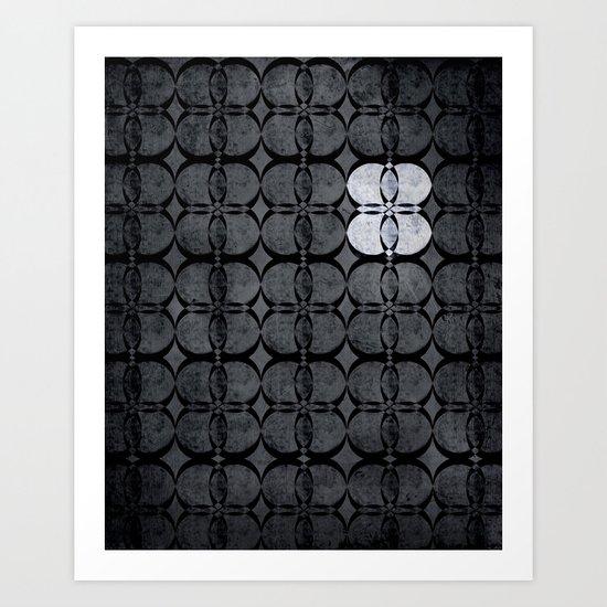Pattern Eight Black and White Art Print