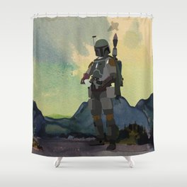 Lab No.4 -Boba Fett Movie Motivating Quotes Poster Shower Curtain